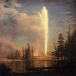 Albert Bierstadt (1830-1902)  Old Faithful  Oil on canvas mounted on panel  28 1/2 x 20 1/4 inches (72.39 x 51.44 cm)  Public collection